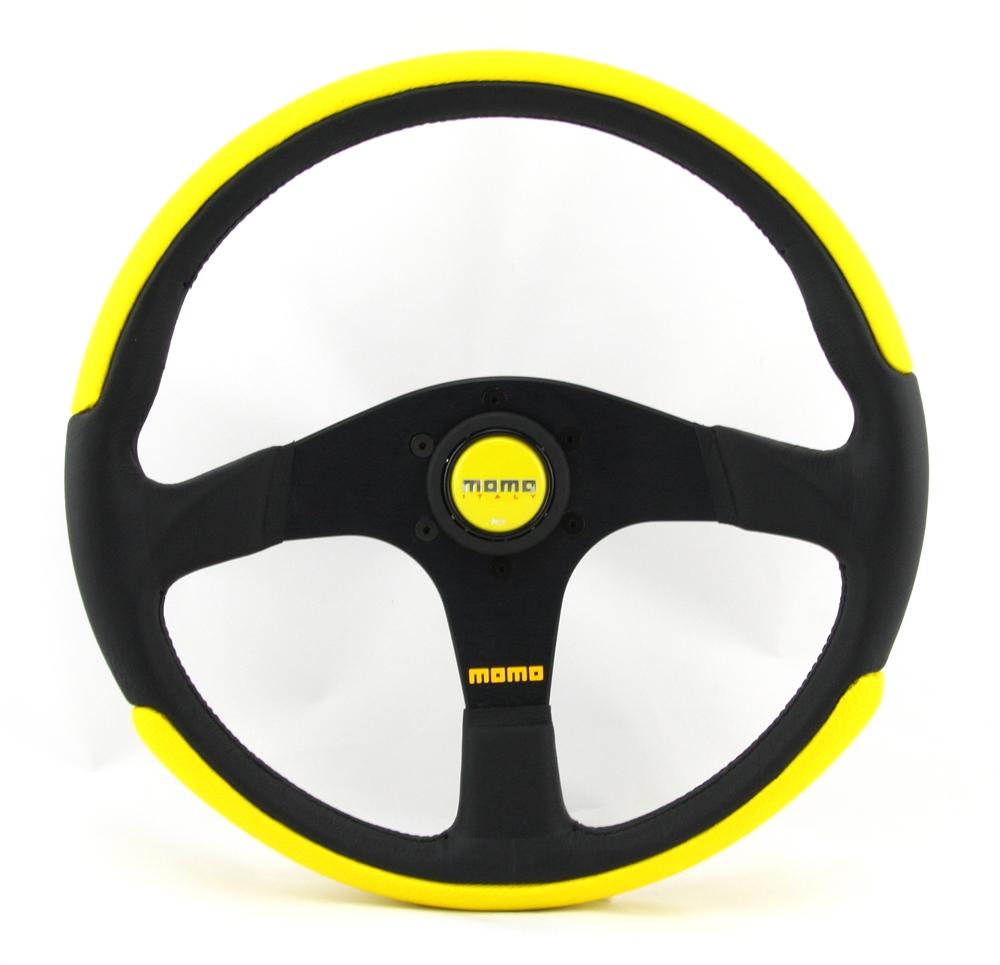 momo lenkrad top power 35cm schwarz gelb in moers kaufen. Black Bedroom Furniture Sets. Home Design Ideas