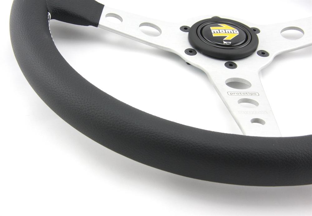 momo lenkrad prototipo 35cm schwarz silber steering wheel. Black Bedroom Furniture Sets. Home Design Ideas