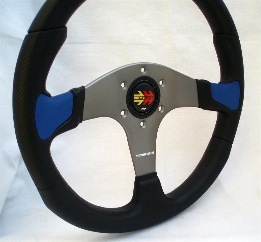 momo lenkrad devil 35cm schwarz blau steering wheel. Black Bedroom Furniture Sets. Home Design Ideas