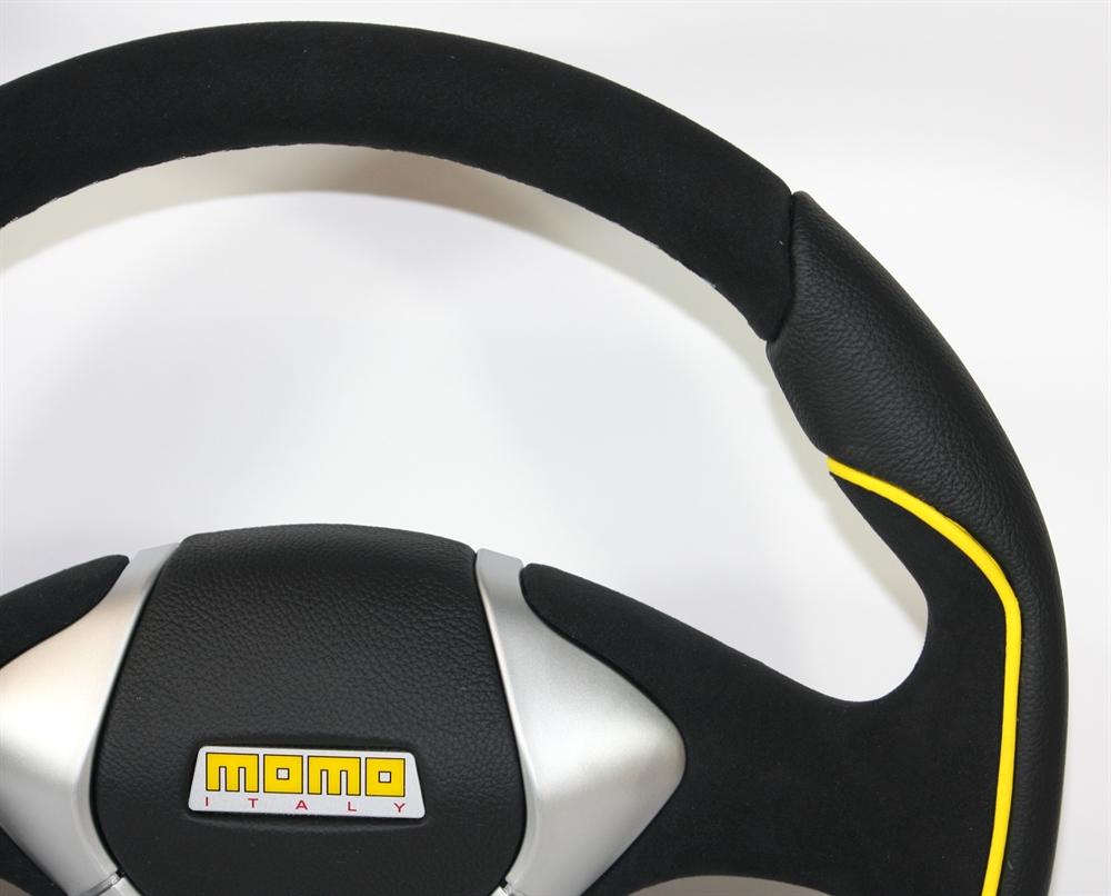 momo lenkrad gtr 50 35cm schwarz gelb steering wheel. Black Bedroom Furniture Sets. Home Design Ideas