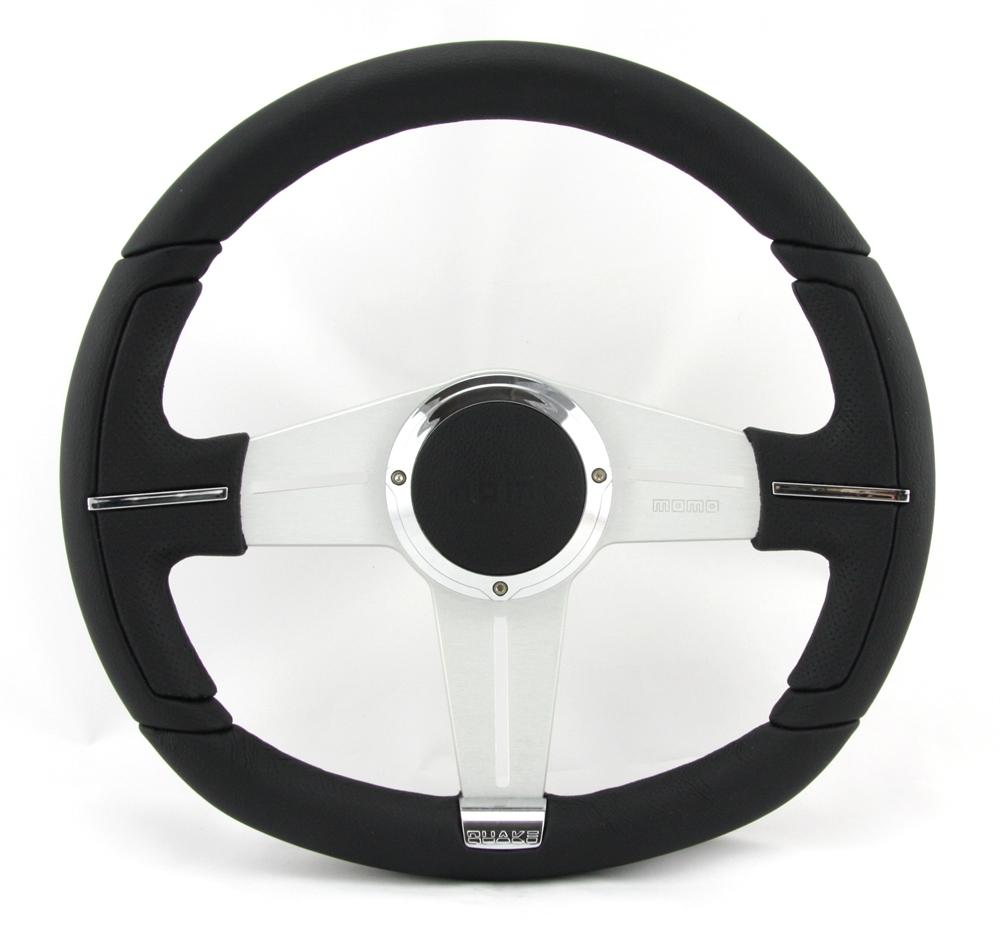 momo lenkrad quake 35cm schwarz grau steering wheel. Black Bedroom Furniture Sets. Home Design Ideas